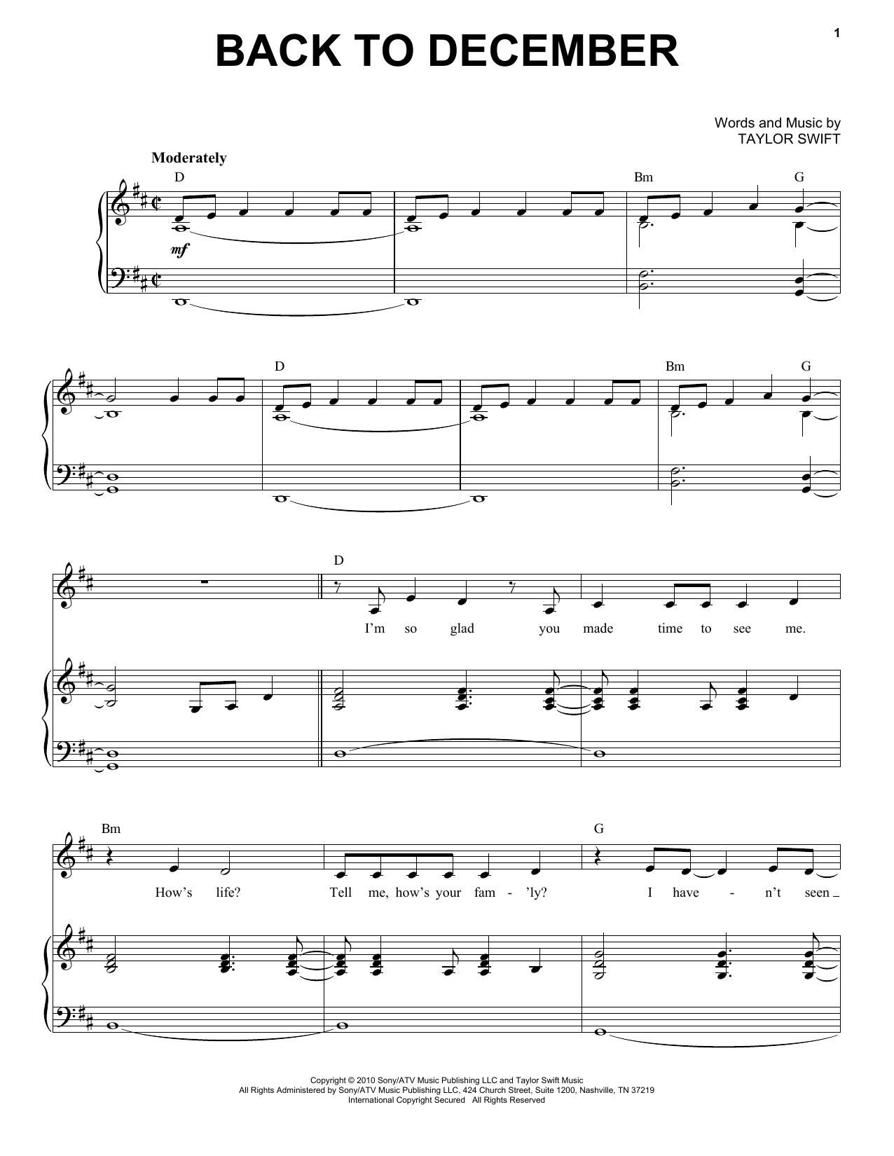 Back To December Sheet Music