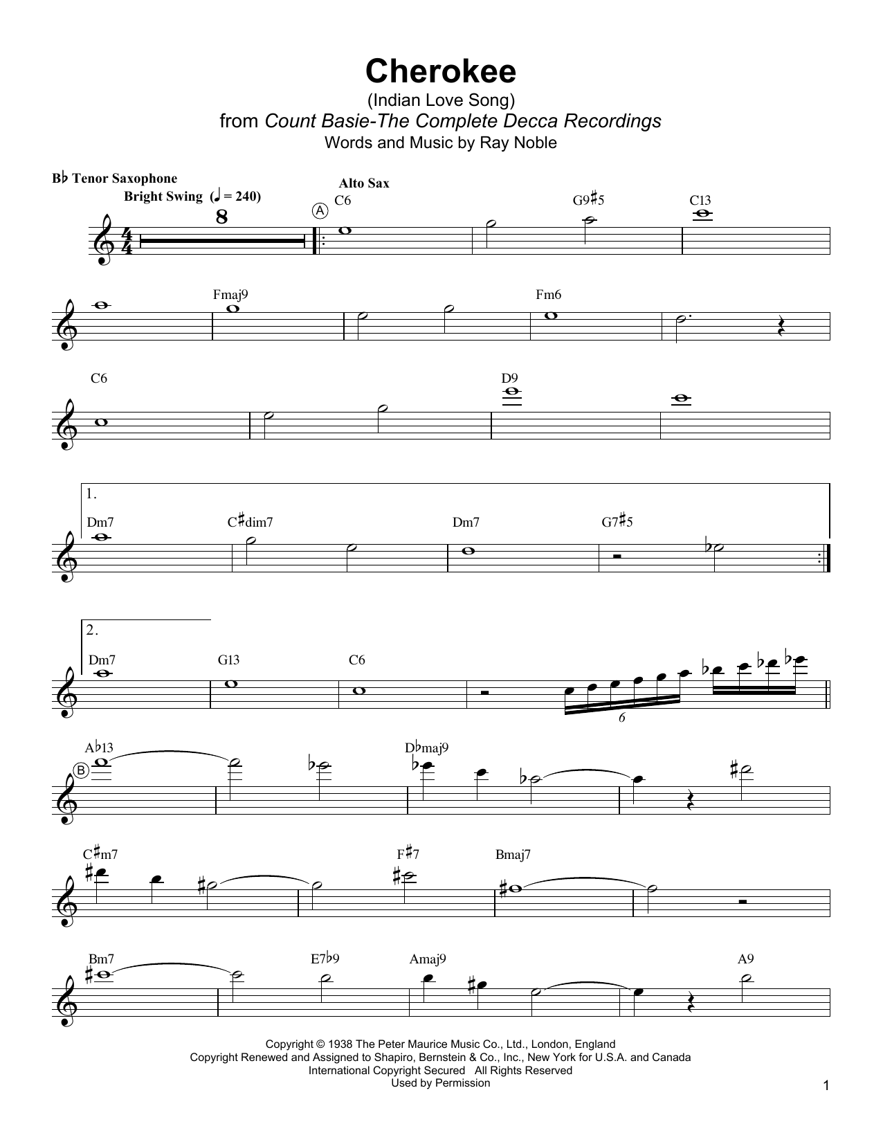 Cherokee (Indian Love Song) (Tenor Sax Transcription)
