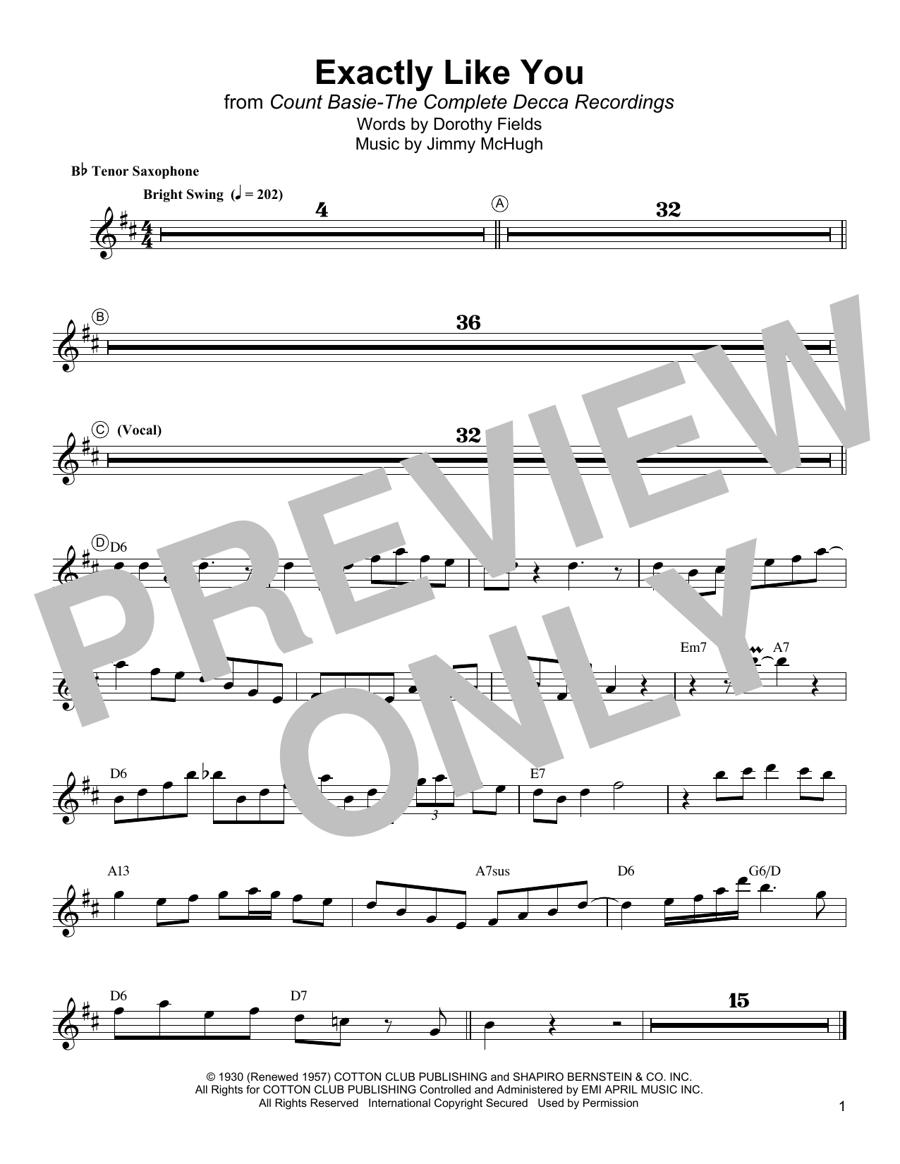 Exactly Like You Sheet Music