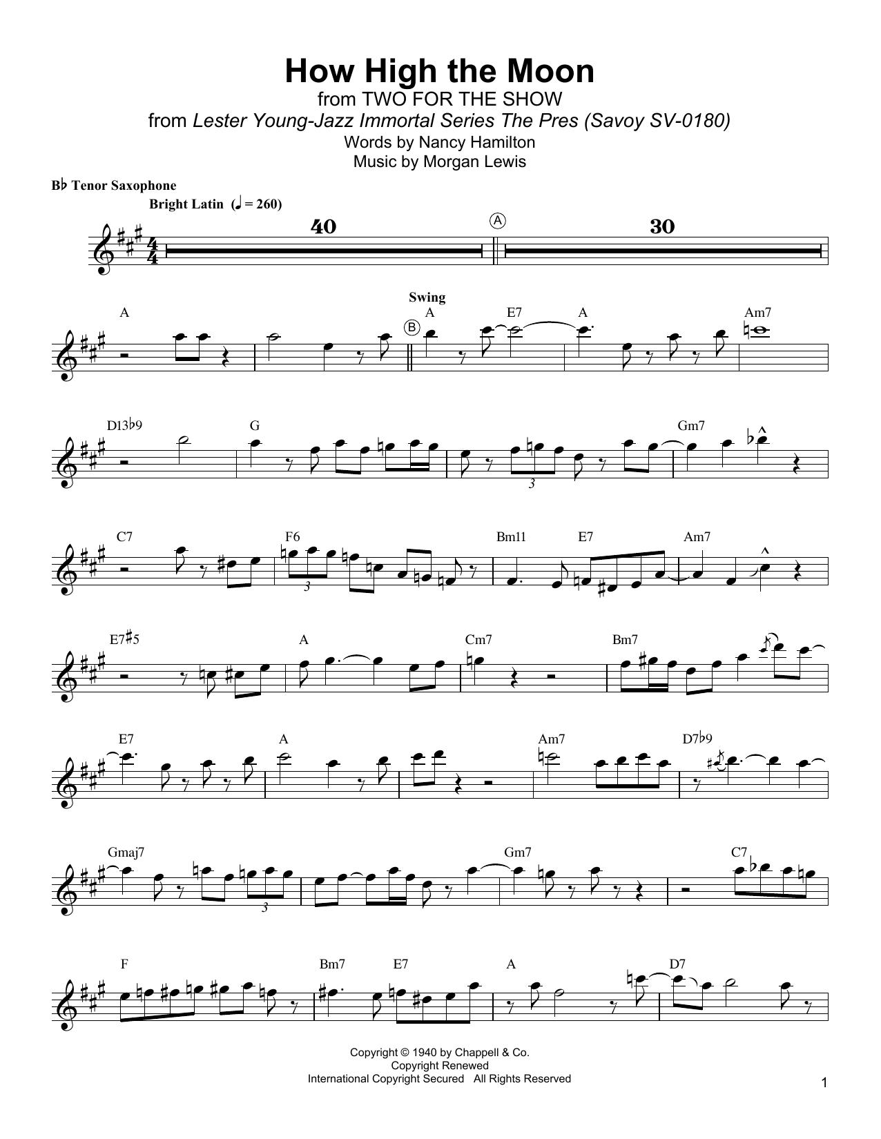 How High The Moon Sheet Music