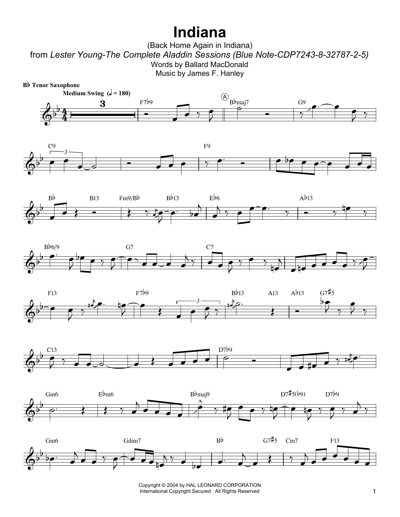 Indiana (Back Home Again In Indiana) Sheet Music