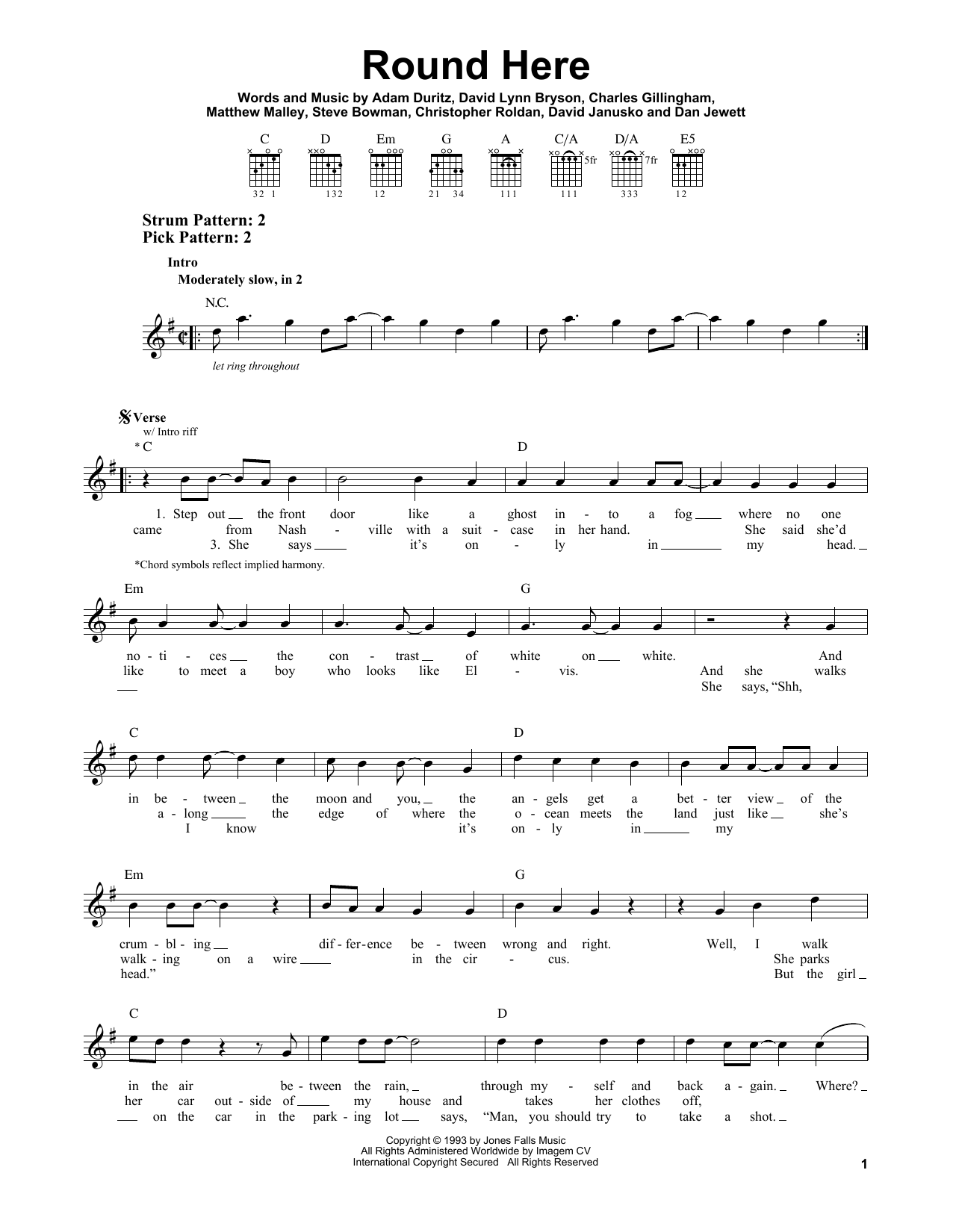 Tablature guitare Round Here de Counting Crows - Tablature guitare facile