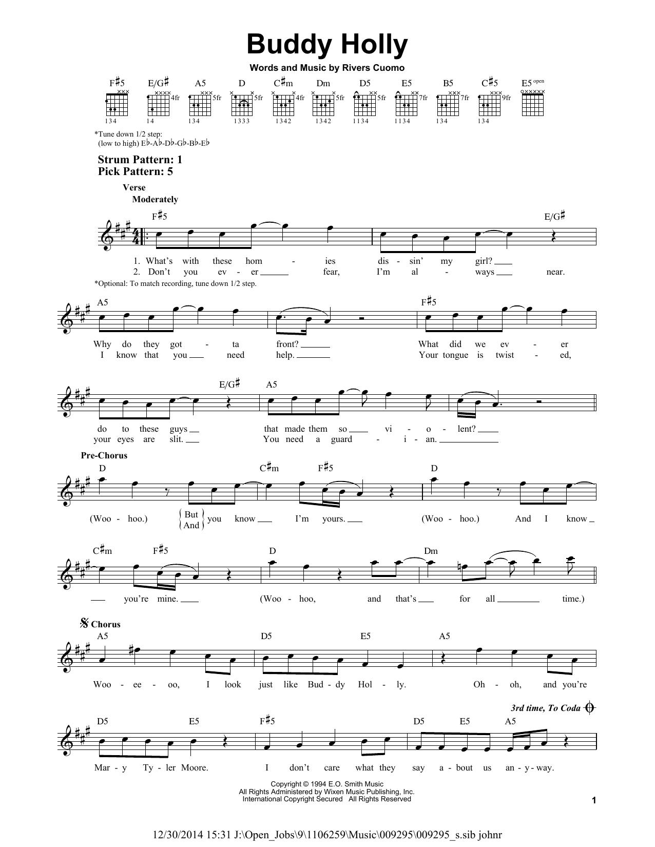 Tablature guitare Buddy Holly de Weezer - Tablature guitare facile