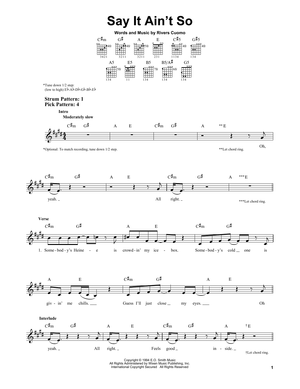 Tablature guitare Say It Ain't So de Weezer - Tablature guitare facile