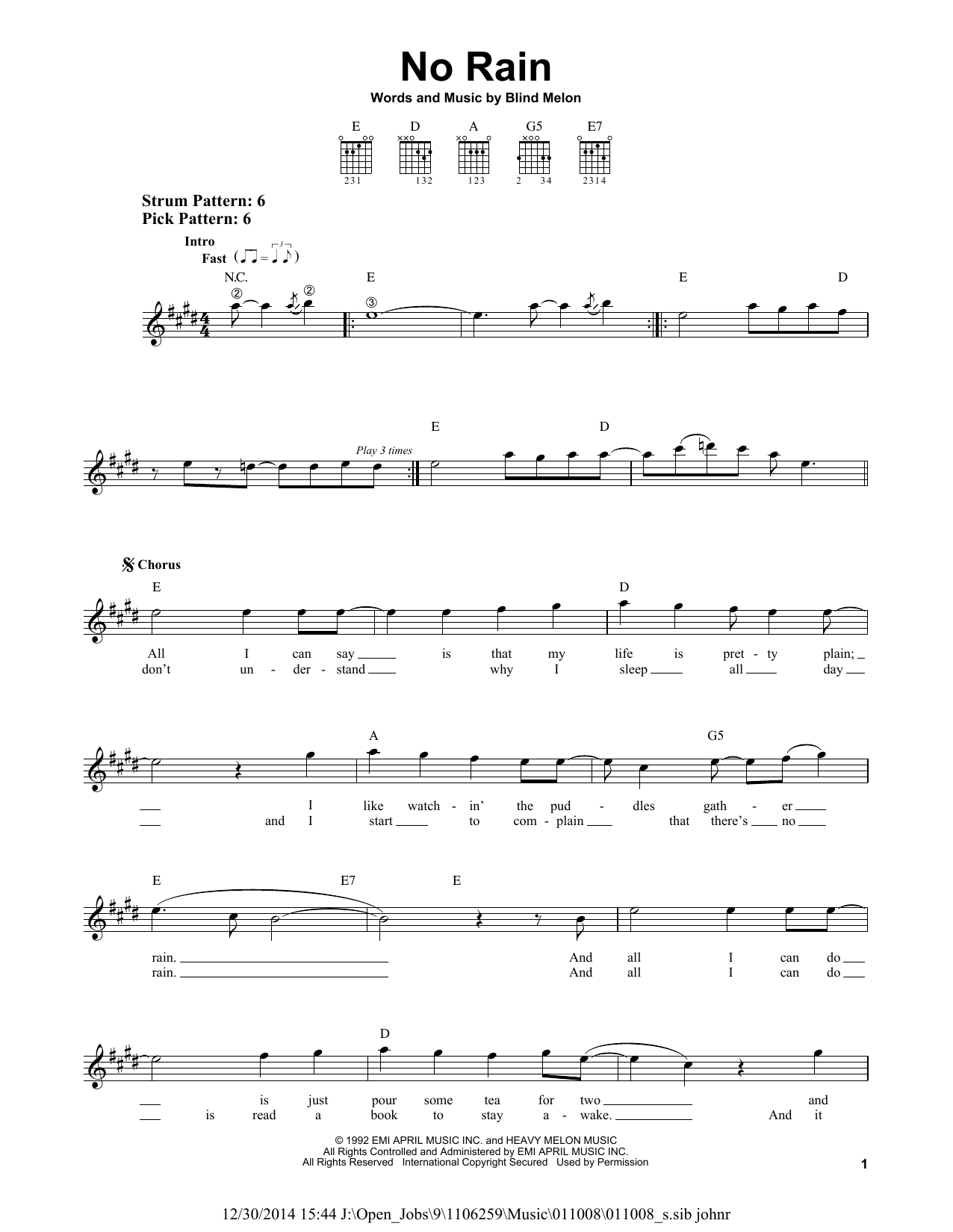 No Rain Sheet Music