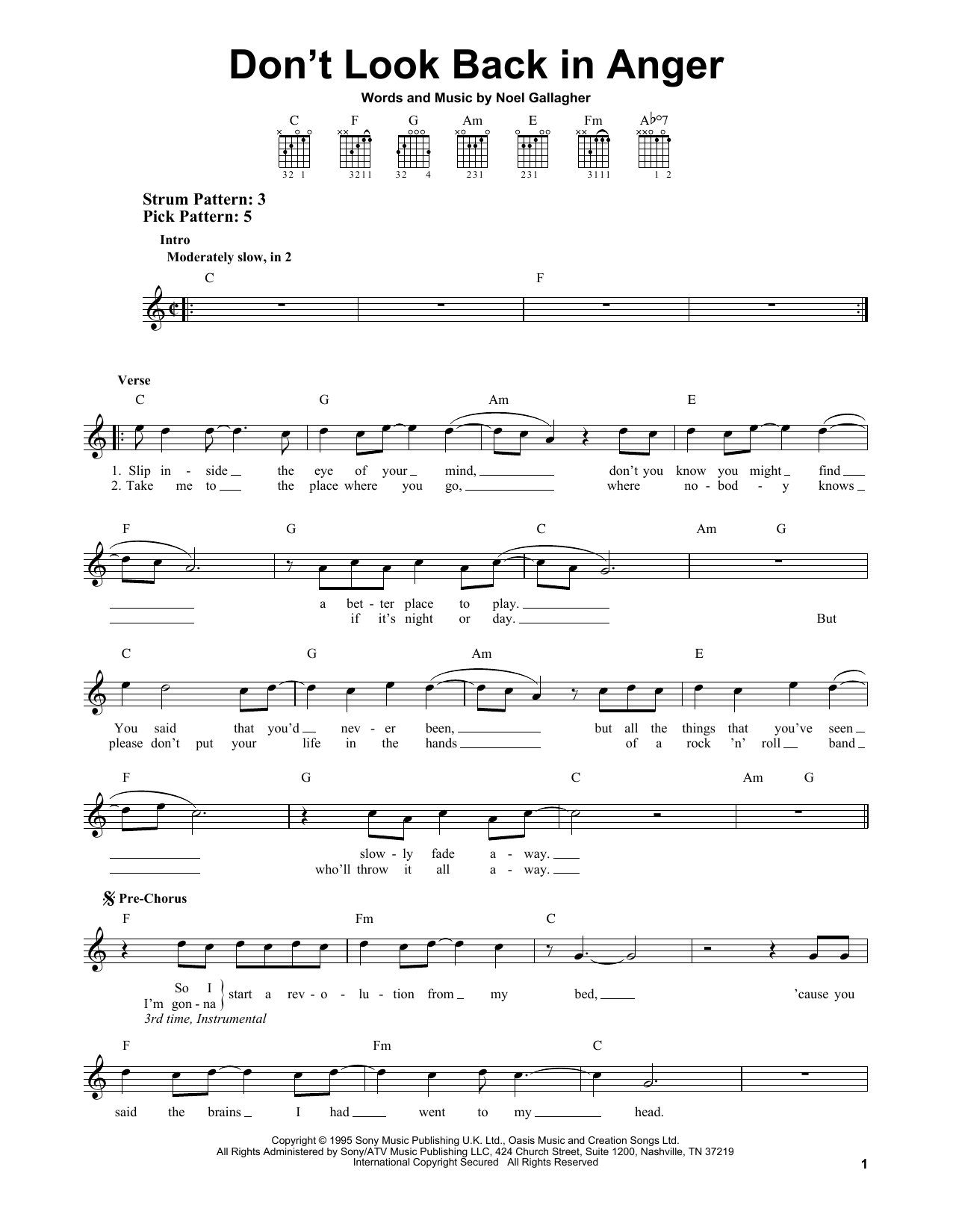 Tablature guitare Don't Look Back In Anger de Oasis - Tablature guitare facile