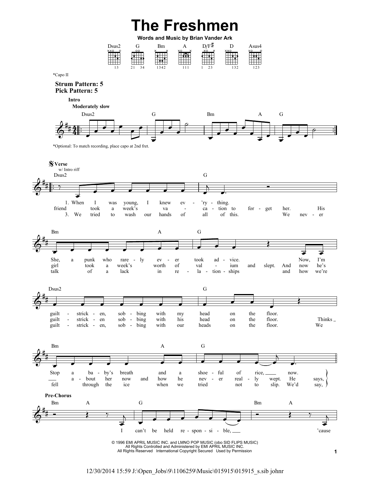 Tablature guitare The Freshmen de The Verve Pipe - Tablature guitare facile