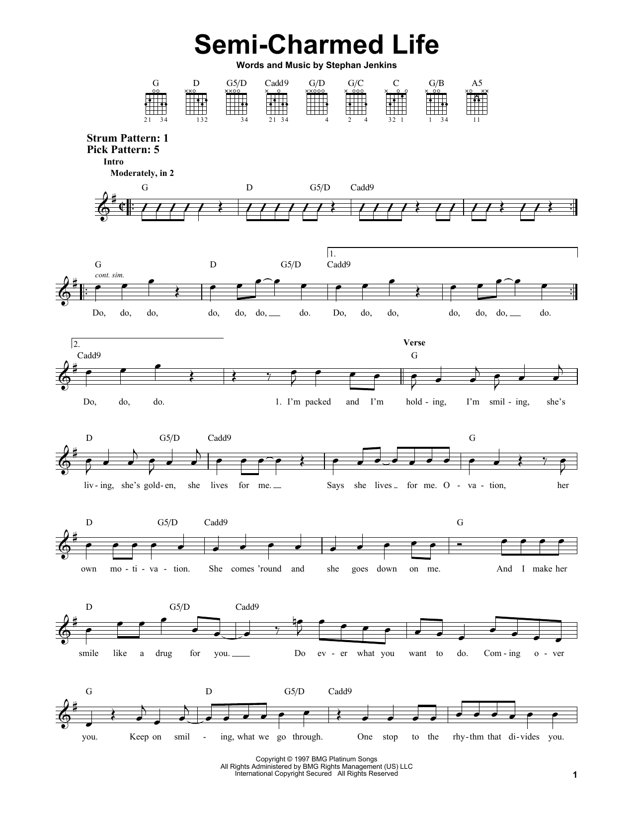 Tablature guitare Semi-Charmed Life de Third Eye Blind - Tablature guitare facile