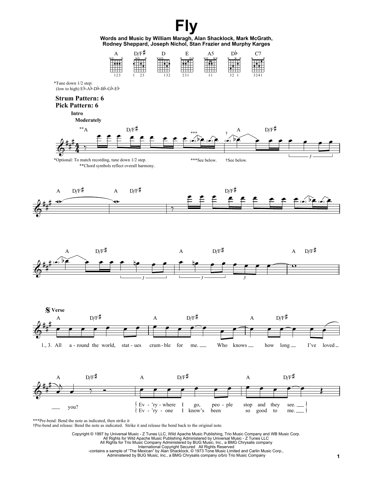 Tablature guitare Fly de Sugar Ray - Tablature guitare facile