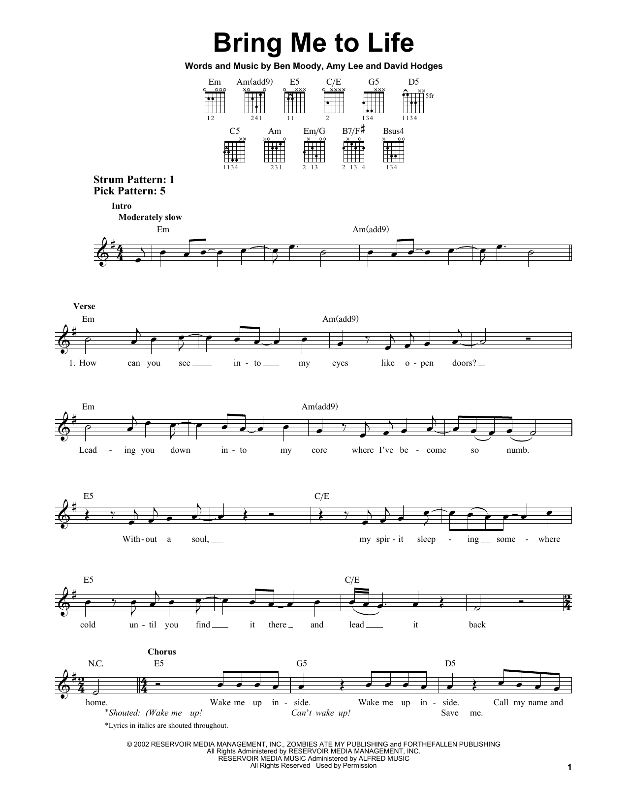 Tablature guitare Bring Me To Life de Evanescence - Tablature guitare facile
