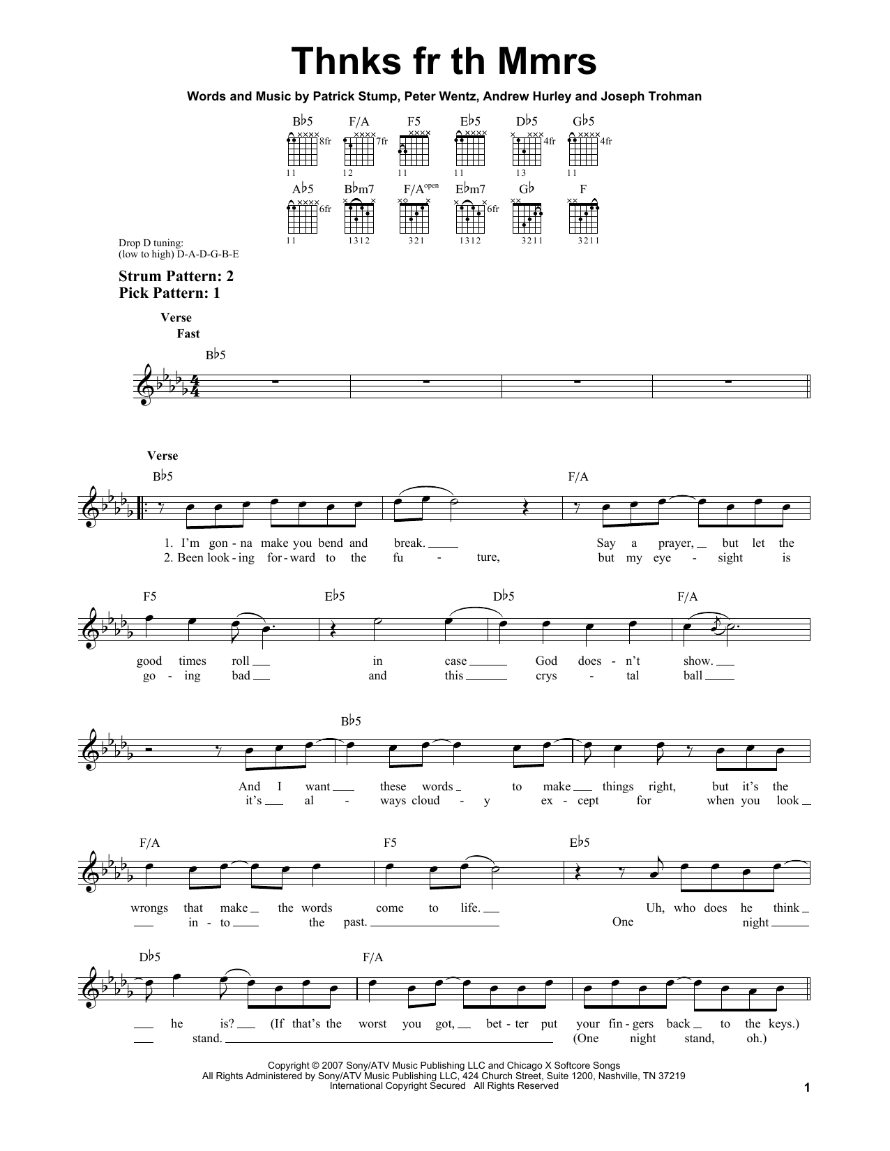 Tablature guitare Thnks Fr Th Mmrs de Fall Out Boy - Tablature guitare facile