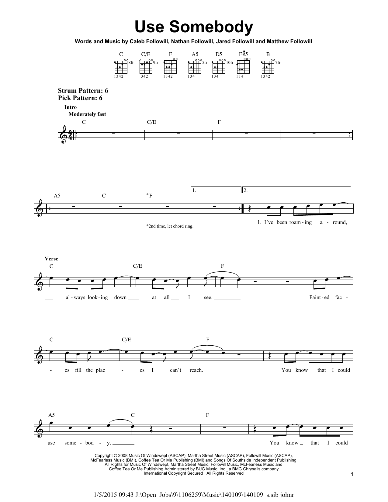 Tablature guitare Use Somebody de Kings Of Leon - Tablature guitare facile