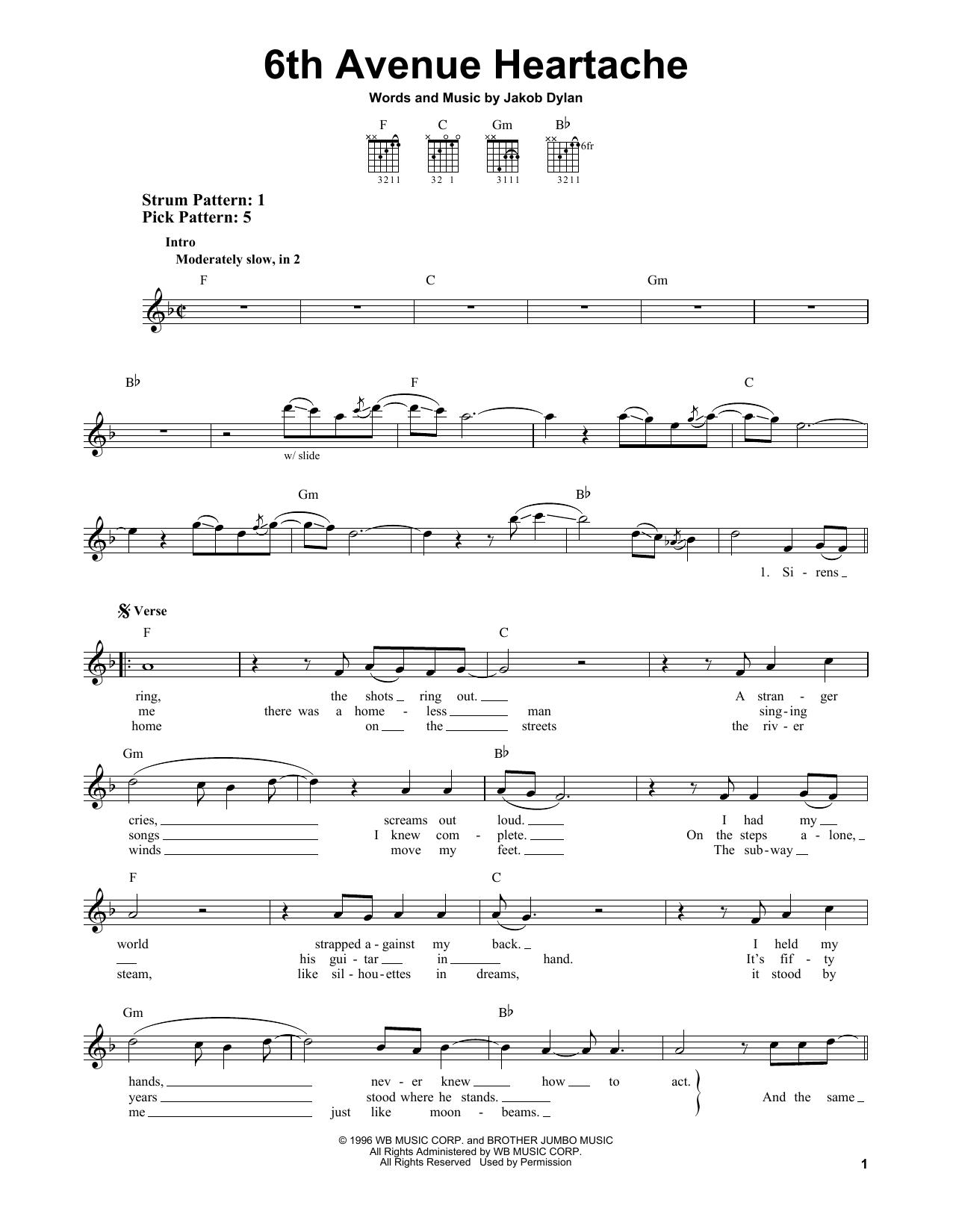 6th Avenue Heartache Sheet Music