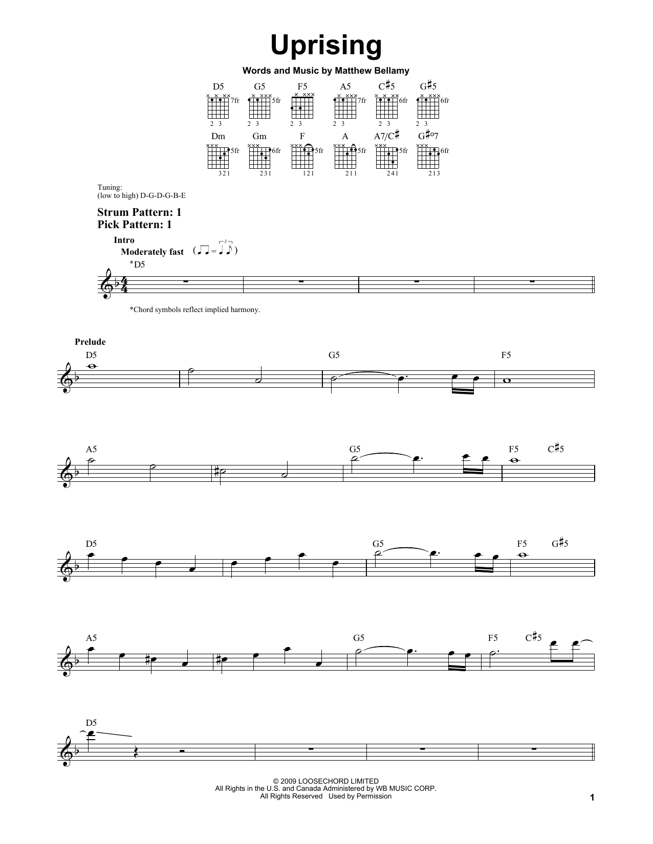 Tablature guitare Uprising de Muse - Tablature guitare facile