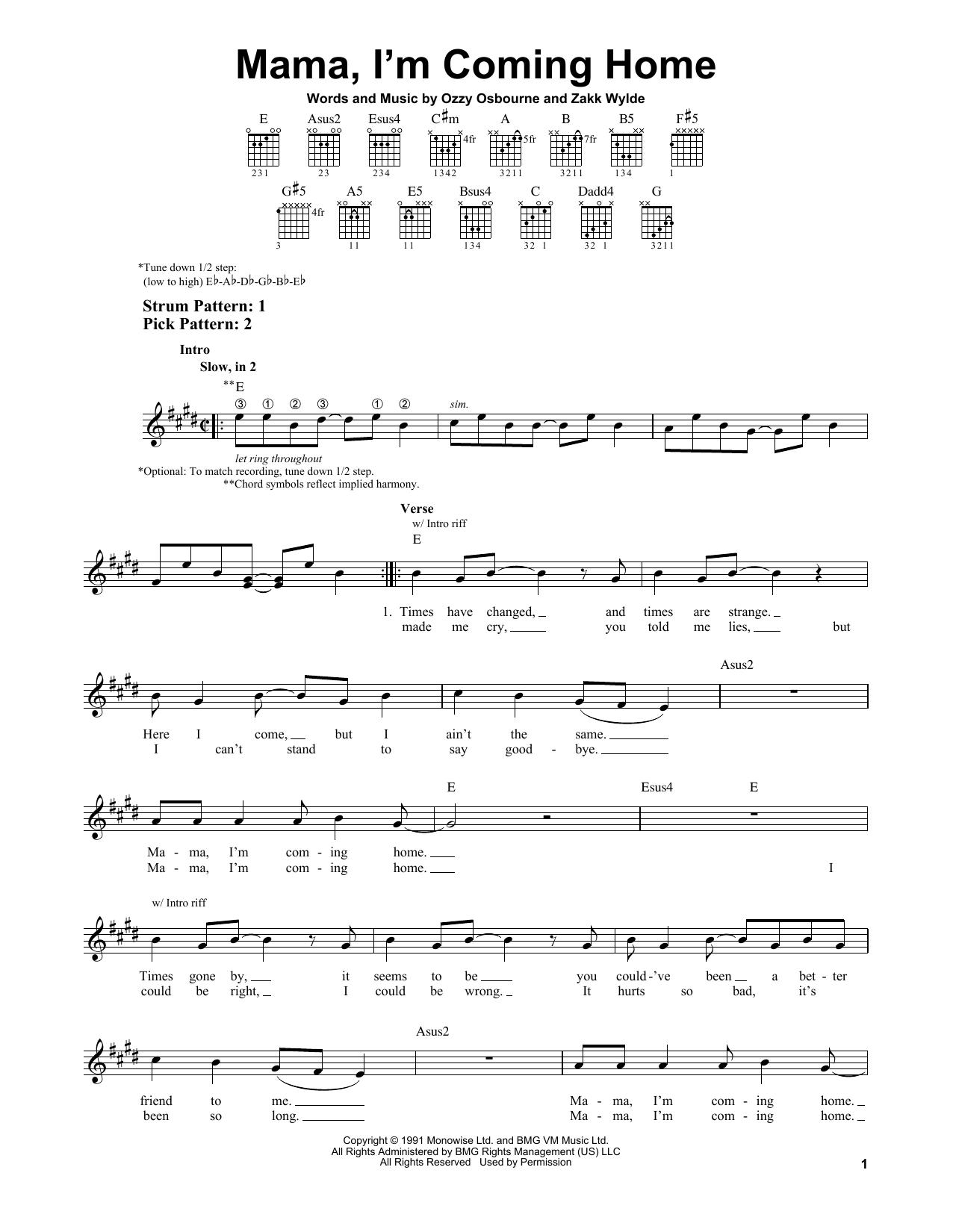 Tablature guitare Mama, I'm Coming Home de Ozzy Osbourne - Tablature guitare facile