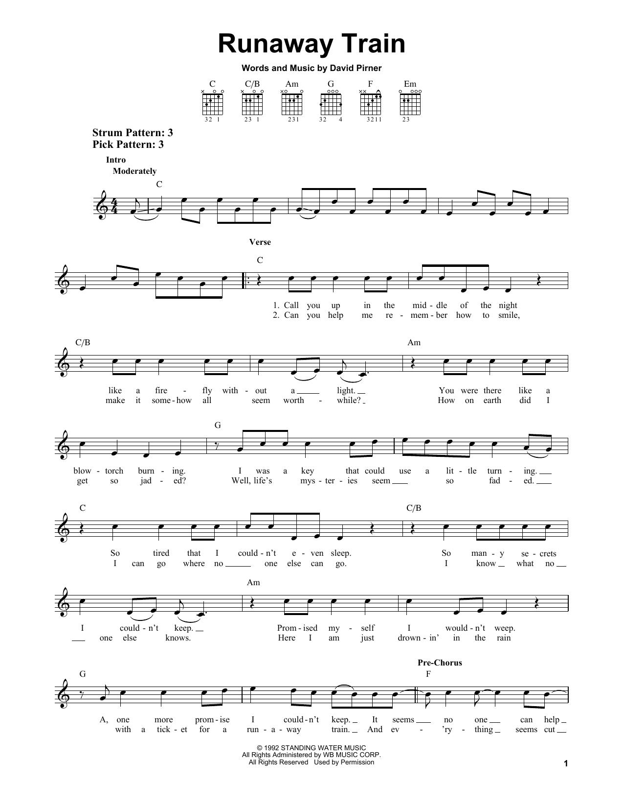 Tablature guitare Runaway Train de Soul Asylum - Tablature guitare facile