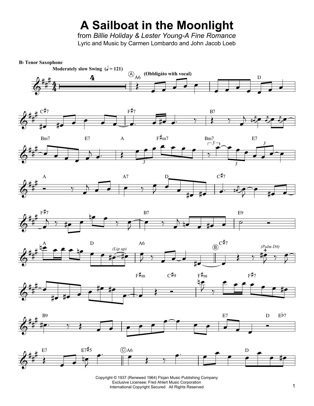 A Sailboat In The Moonlight Sheet Music