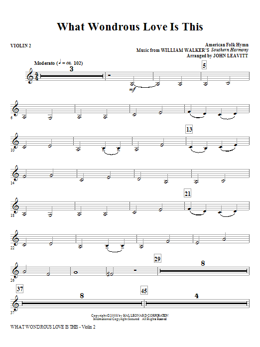What Wondrous Love Is This - Violin 2 Sheet Music