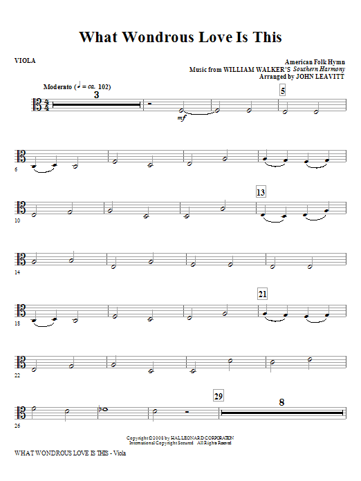 What Wondrous Love Is This - Viola Sheet Music