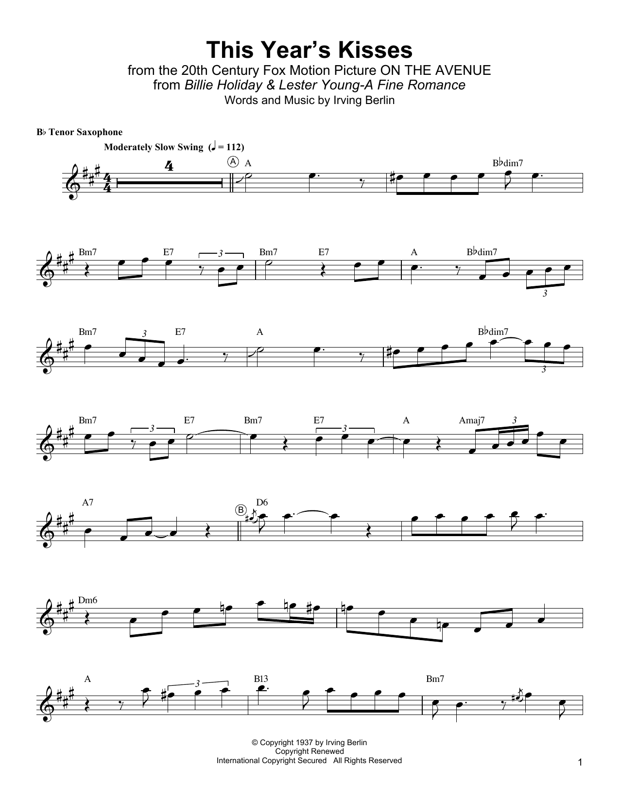This Year's Kisses Sheet Music