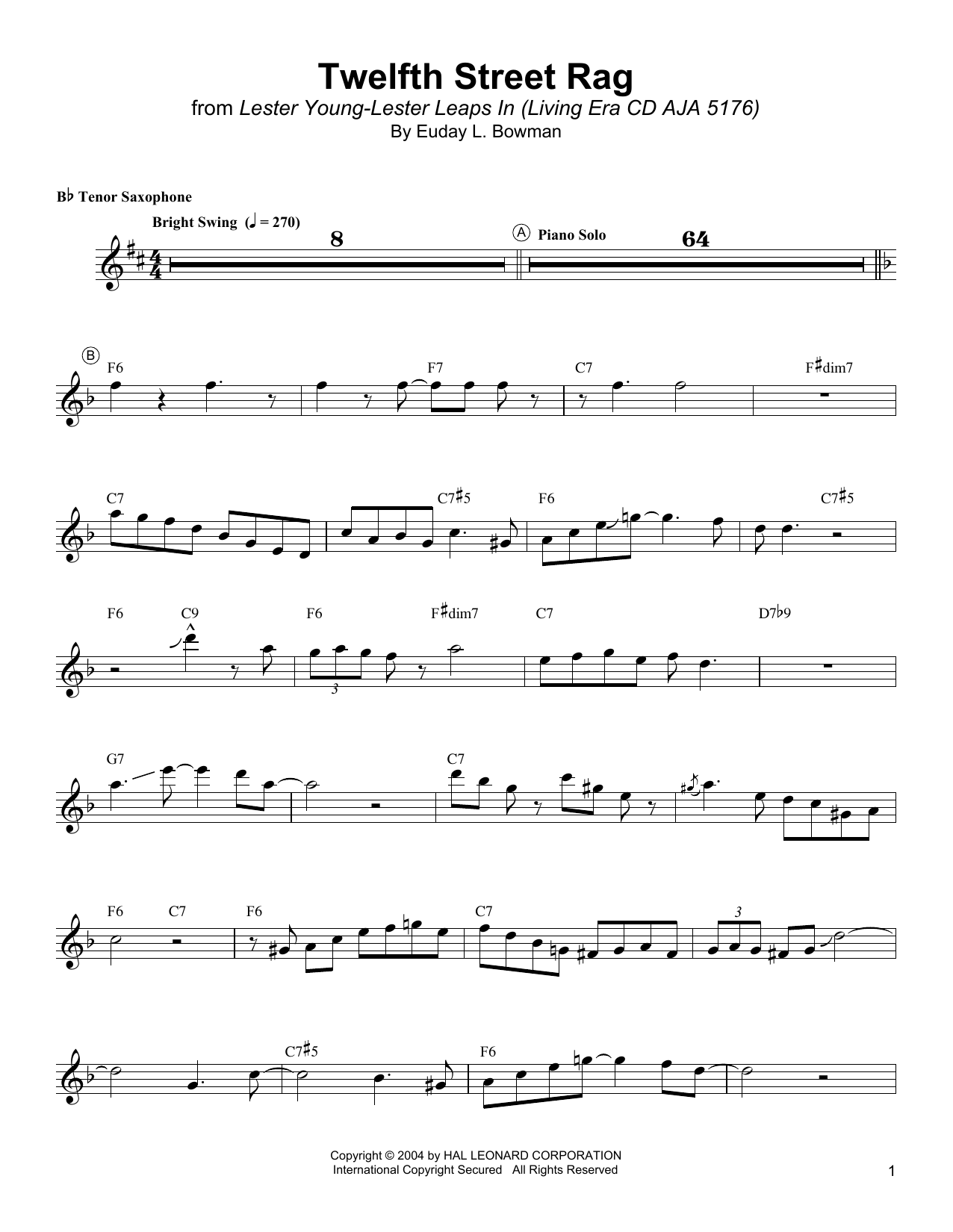 Twelfth Street Rag Sheet Music