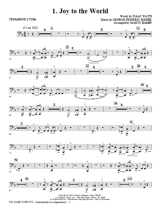 We Come With Joy Orchestration - Trombone 3/Tuba Sheet Music