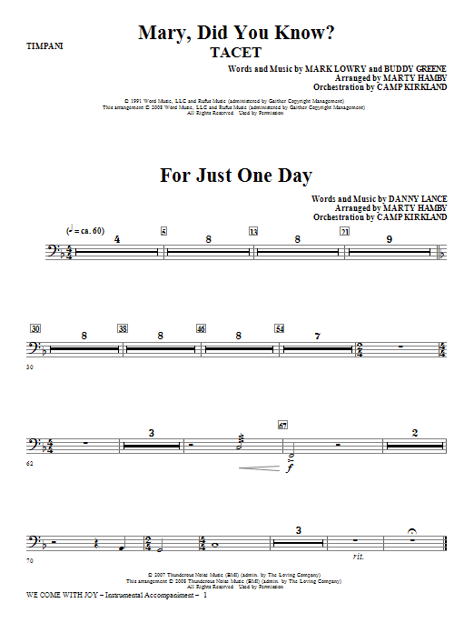 We Come With Joy Orchestration - Timpani Sheet Music
