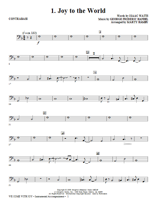 We Come With Joy Orchestration - Contrabass Sheet Music