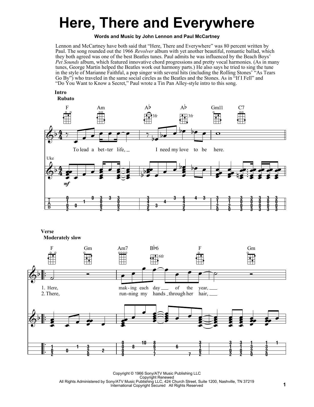 Tablature guitare Here, There And Everywhere de The Beatles - Ukulele