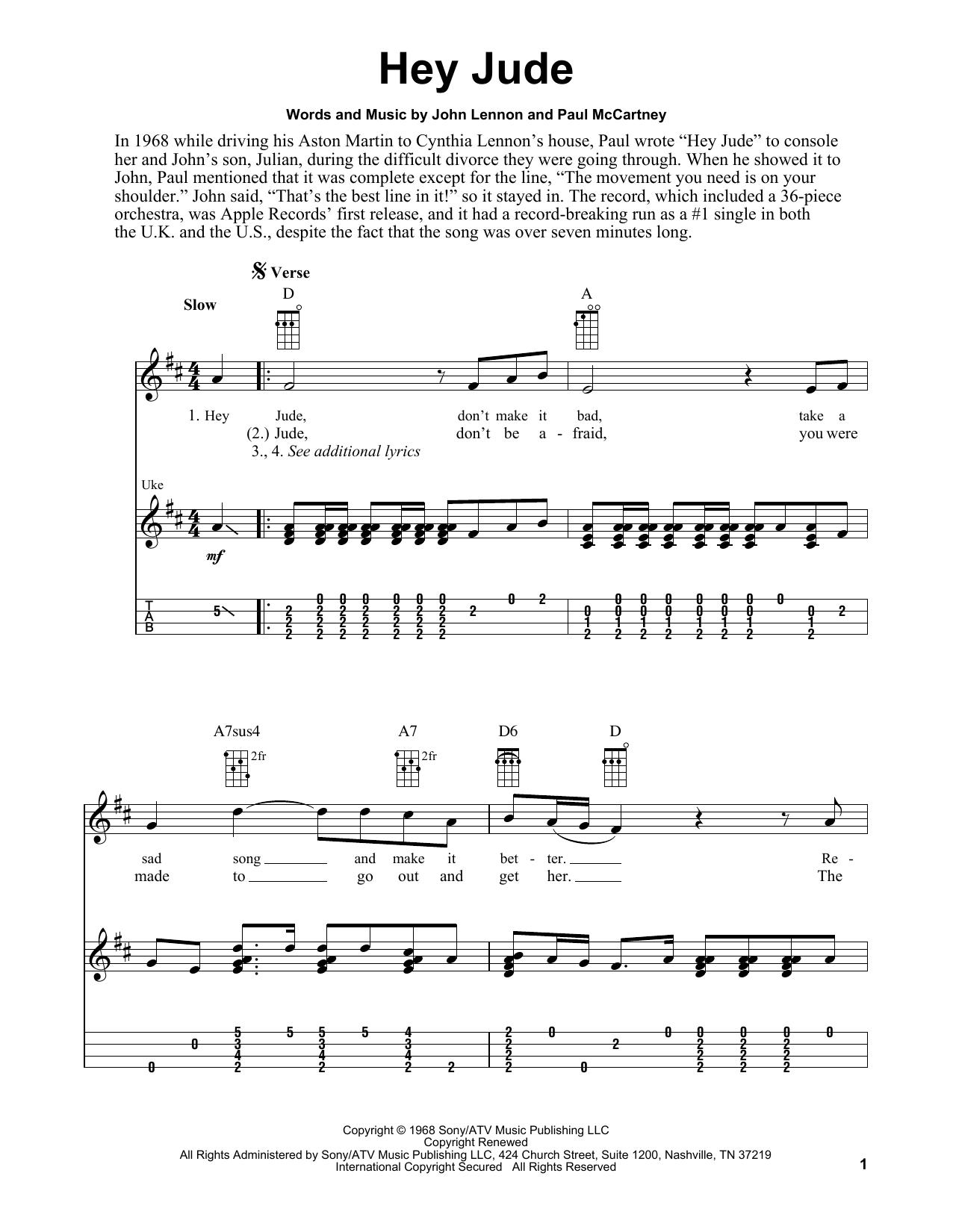 Tablature guitare Hey Jude de The Beatles - Ukulele