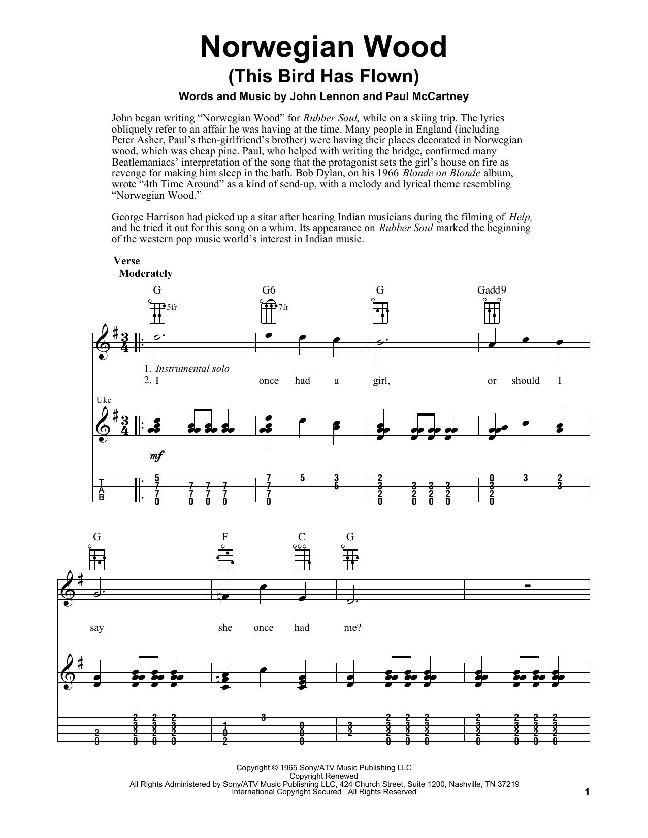 Tablature guitare Norwegian Wood (This Bird Has Flown) de The Beatles - Ukulele
