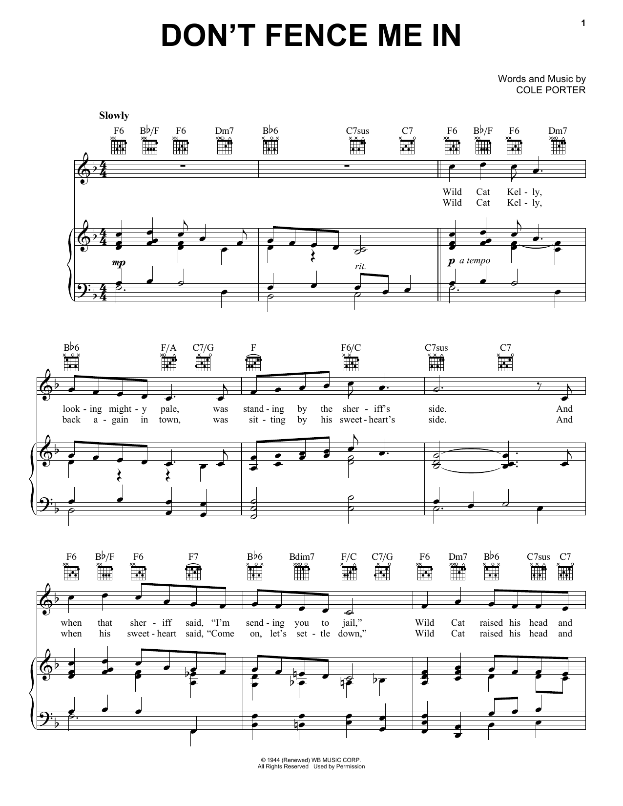 Don't Fence Me In (Piano, Vocal & Guitar (Right-Hand Melody))