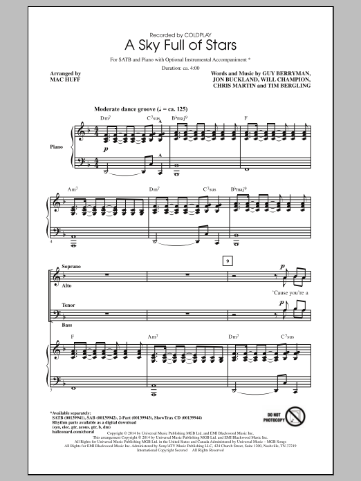 A Sky Full Of Stars (arr. Mac Huff) Sheet Music