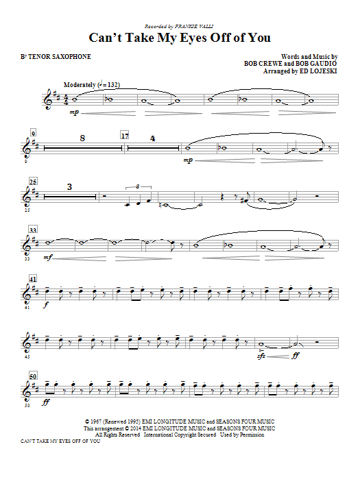 Can't Take My Eyes Off Of You - Bb Tenor Saxophone Sheet Music
