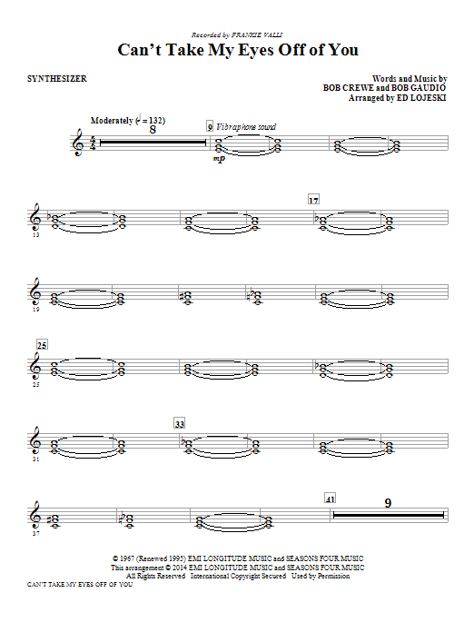 Can't Take My Eyes Off Of You - Synthesizer Sheet Music