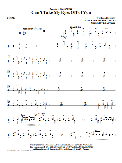 Can't Take My Eyes Off Of You - Drums Sheet Music