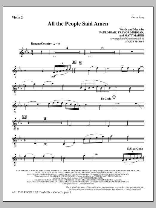 All the People Said Amen - Violin 2 Sheet Music