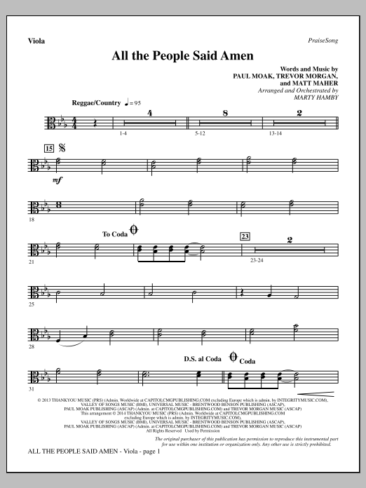 All the People Said Amen - Viola Sheet Music