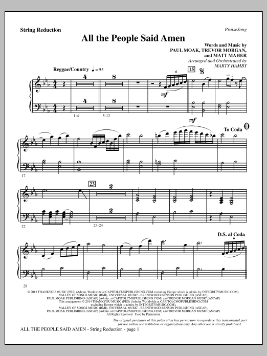 All the People Said Amen - Keyboard String Reduction Sheet Music