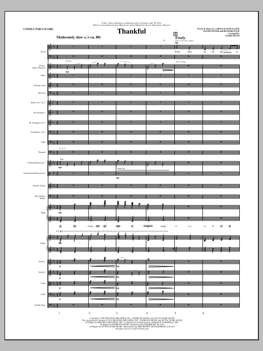 Thankful (COMPLETE) sheet music for orchestra/band by Mark Hayes, Carole Bayer Sager, David Foster, Josh Groban and Richard Page. Score Image Preview.