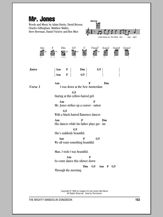 Mr. Jones Sheet Music