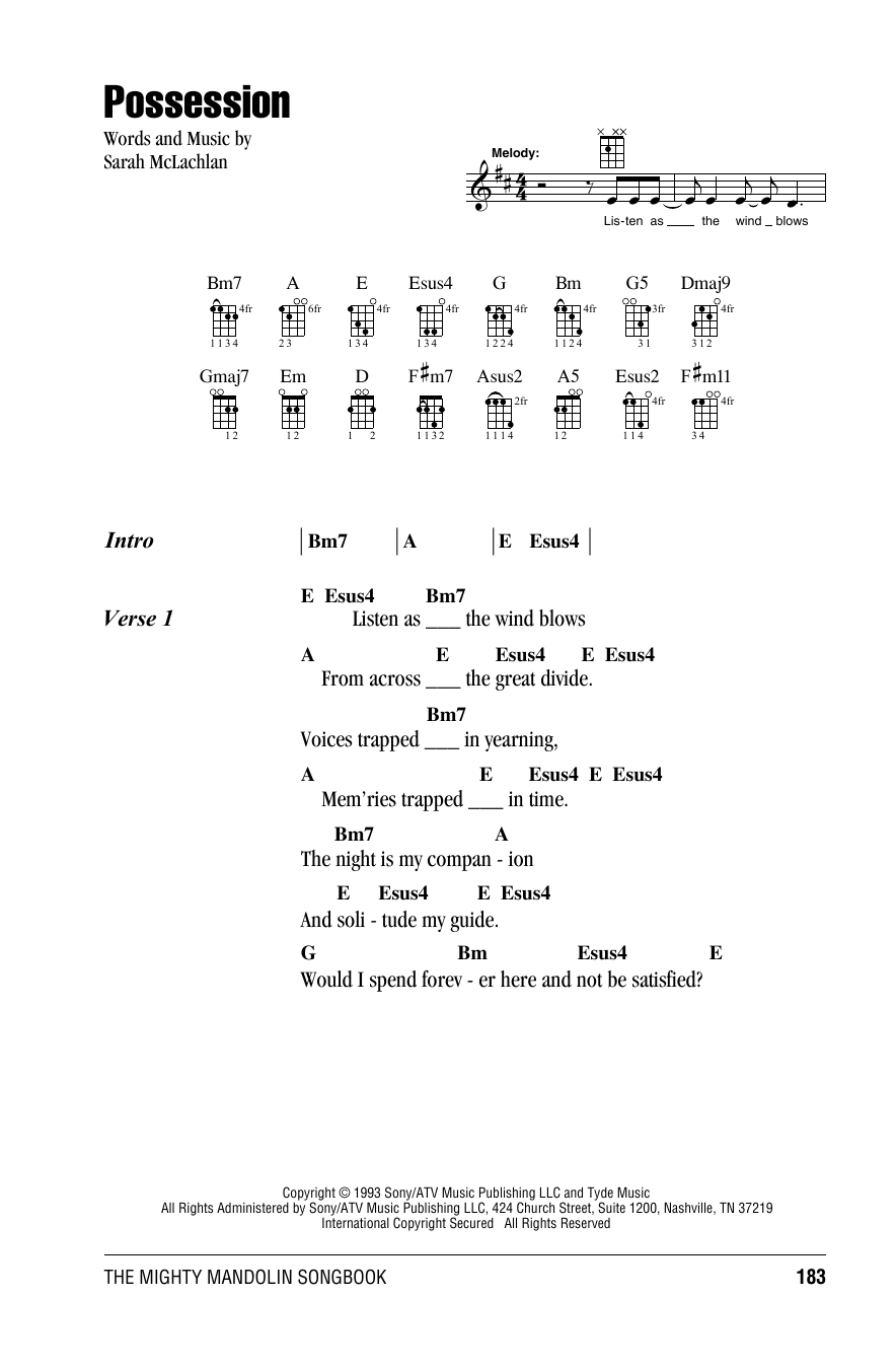 Tablature guitare Possession de Sarah McLachlan - Autre