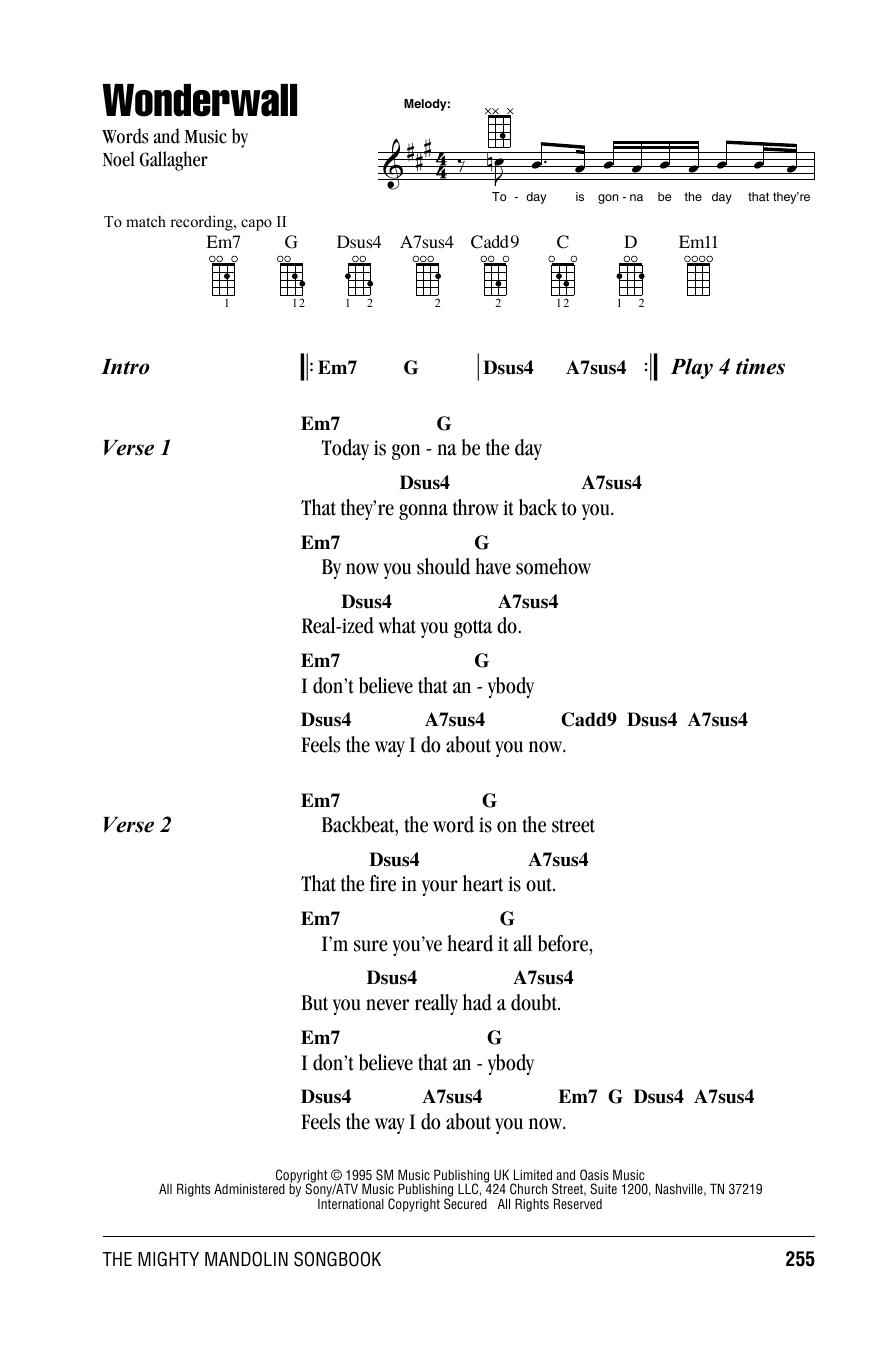 Guitar Instructor Wonderwall by Oasis - Mandolin Chords/Lyrics
