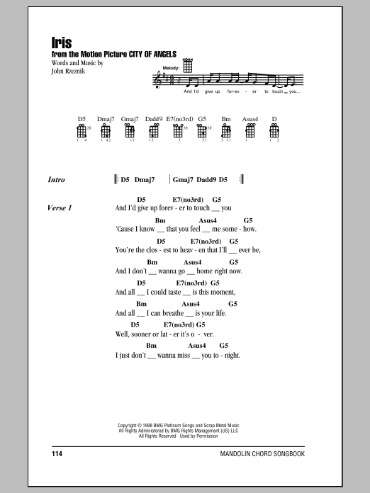 Mandolin mandolin chords and lyrics : Iris sheet music by Goo Goo Dolls (Mandolin – 157818)