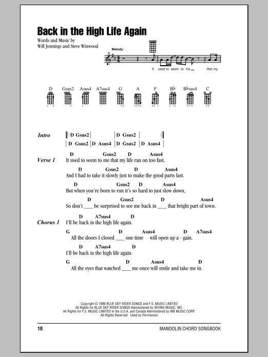 Back In The High Life Again Sheet Music