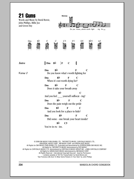 Mandolin mandolin chords and lyrics : 21 Guns by Green Day - Mandolin Chords/Lyrics - Guitar Instructor