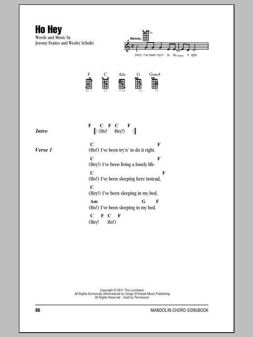 Ho Hey Sheet Music By The Lumineers Mandolin 157825