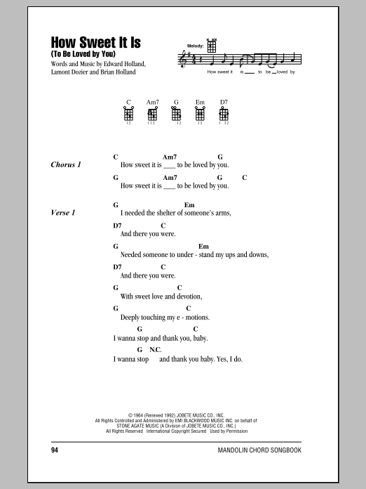 How Sweet It Is (To Be Loved By You) | Sheet Music Direct