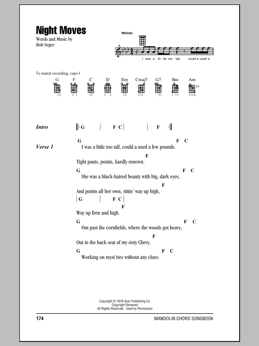 Night Moves Sheet Music