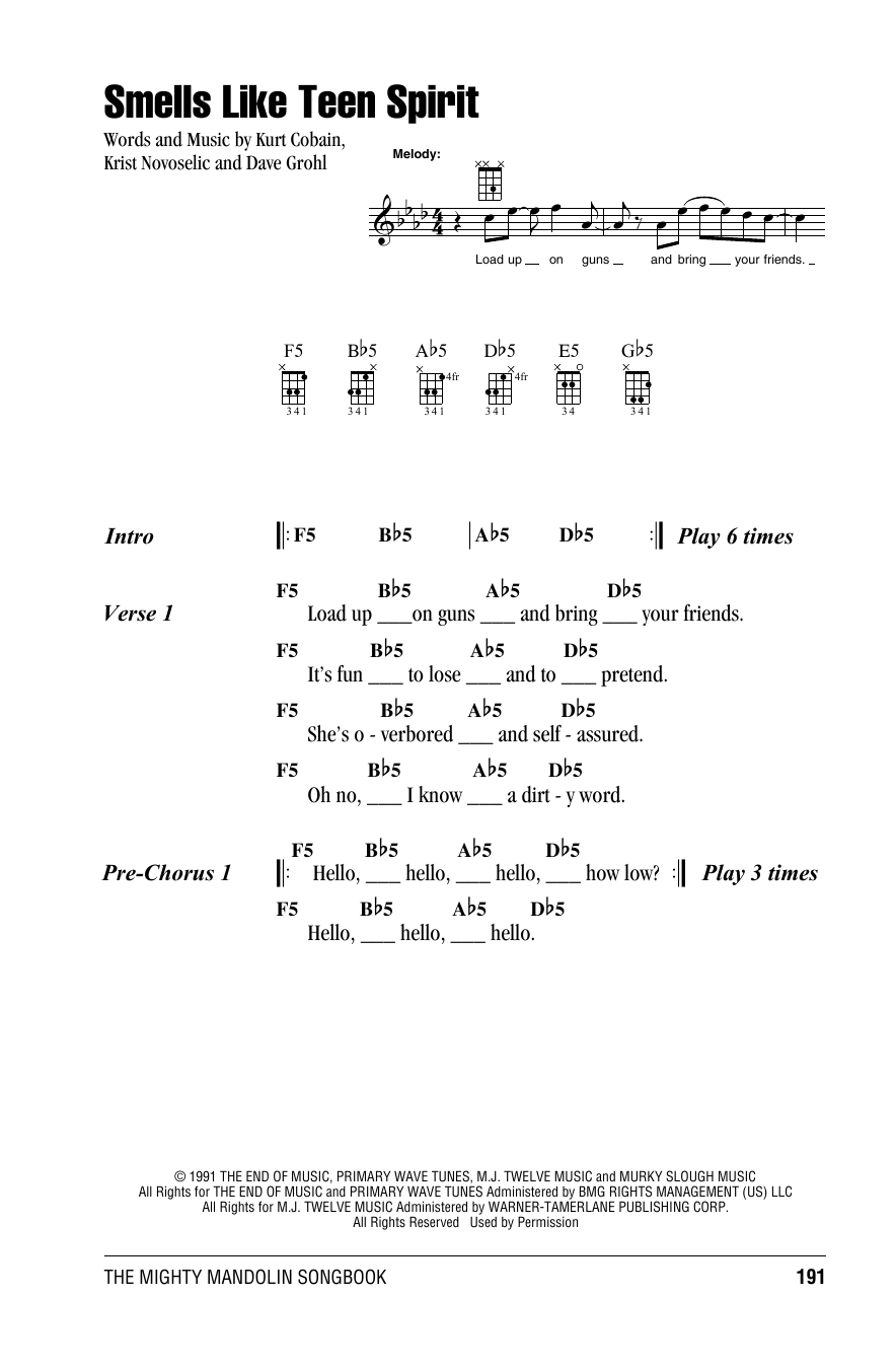 Smells Like Teen Spirit sheet music by Nirvana (Mandolin u2013 158060)